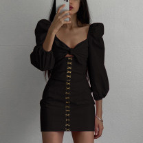 Dress Winter 2020 black S,M,L Short skirt singleton  Long sleeves commute square neck High waist Solid color Socket One pace skirt routine Others 18-24 years old Type H Retro Resin fixation More than 95% other polyester fiber