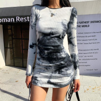Dress Autumn 2020 black S,M,L Short skirt singleton  Long sleeves street Crew neck High waist other Socket One pace skirt routine Others 18-24 years old Type H Resin fixation 91% (inclusive) - 95% (inclusive) knitting cotton Europe and America