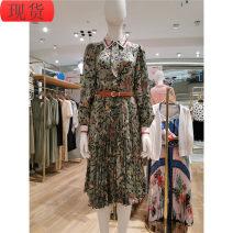 Dress Spring 2021 Green flower 155/80A,160/84A Mid length dress singleton  Long sleeves commute Elastic waist Decor Pleated skirt Haihong pocket lady