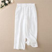 Casual pants M,L,XL Spring 2021 Ninth pants Wide leg pants Natural waist commute Thin money 96% and above hemp literature hemp