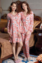 Pajamas / housewear set female Cherie M 1.55m-100kg, l 1.60m-120kg, XL 1.65m-140kg, XXL 1.70m-160kg Suit 498, nightdress 499 viscose  Long sleeves Simplicity pajamas spring Thin money V-neck Plants and flowers trousers Socket middle age 2 pieces rubber string modal  printing Middle-skirt