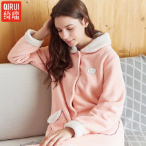 Nightgown / bathrobe Cherie female M for 80 to 100 kg, l for 100 to 120 kg, XL for 120 to 140 kg, XXL for 140 to 160 kg Shrimp 89044 thickening Sweet Polyester (polyester) winter More than 95% Medium length (knee to Mid Calf) Fleece fabric Solid color youth Shrimp 89044 Button decoration 400g