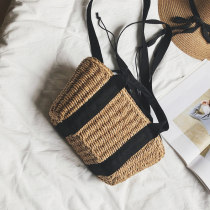 Bag The single shoulder bag grass Woven bag Other / other khaki brand new Japan and South Korea in leisure time soft Strip extraction no Solid color Double root One shoulder hand nothing youth Square box weave Soft handle polyester fiber Jam