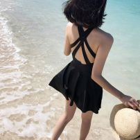 one piece  other M,L,XL,XXL,XXXL black Skirt one piece With chest pad without steel support Polyester, nylon female Sleeveless Casual swimsuit
