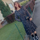 Women's large Autumn of 2019, spring of 2020 Decor Dress commute easy moderate Long sleeves Broken flowers Retro Crew neck Three dimensional cutting longuette Ruffle Skirt