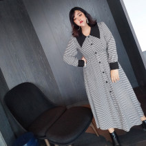 Women's large Autumn 2020, spring 2021 black and white 0, 1, 2, 3, 4, 5 Dress commute Self cultivation thick Socket Long sleeves houndstooth  Retro Polo collar routine longuette