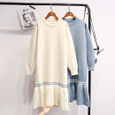 Wool knitwear Winter of 2018 One size fits all - enterprise production White, blue, pink Long sleeves singleton  Socket other 51% (inclusive) - 70% (inclusive) Medium length thickening Sweet easy Low crew neck Lotus leaf sleeve Socket 2018qwww10297 18-24 years old college