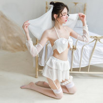 Pajamas / housewear set female GFM Average size white nylon camisole sexy pajamas summer Thin money Solid color Tether youth 2 pieces More than 95% Lace fabric bow 200g and below Polyamide fiber (nylon) 95% polyurethane elastic fiber (spandex) 5% Summer 2020 Exclusive payment of tmall Short skirt no