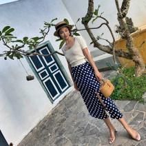 skirt Summer 2021 XS [spot], s [spot], m [spot], l [spot] Milky white dots on Navy background Mid length dress Versatile High waist High waist skirt Dot Type H 18-24 years old Chiffon