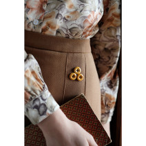skirt Spring 2021 XS [spot], s [spot], m [spot], l [spot] The dead leaves are brown and the maple leaves are red Mid length dress commute High waist A-line skirt Solid color Type A 25-29 years old cotton Button, zipper Retro