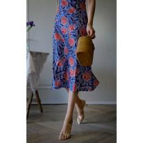 Dress Summer 2021 Yellow flowers on rice, red flowers on blue XS [spot], s [spot], m [spot], l [spot], s [pre-sale mid May], m [pre-sale mid May], l [pre-sale mid May], XS [pre-sale mid May] Mid length dress singleton  Sleeveless commute V-neck High waist Broken flowers zipper A-line skirt routine