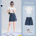 skirt Summer 2021 S,M,L,XL,2XL,3XL,4XL,5XL Dark blue, black Short skirt A-line skirt Type A cotton