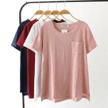 T-shirt White, Burgundy, pink, navy XL,2XL,3XL,4XL Summer 2020 Short sleeve Crew neck easy Regular routine commute hemp 51% (inclusive) - 70% (inclusive) 40-49 years old Korean version Solid color pocket