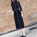 Women's large Autumn 2020 black Big XL, big L, big XXXXL, big XXXL, big XXL, big 5XL Dress singleton  commute Self cultivation moderate Socket Long sleeves Solid color Korean version stand collar Polyester, cotton, others Three dimensional cutting other WN0000734 Three dimensional decoration rivet