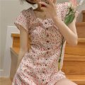 Women's large Summer 2021 K85-p-off white, g39-j-black L (100-120 kg recommended), XL (120-135 kg recommended), 2XL (135-150 kg recommended), 3XL (150-165 kg recommended), 4XL (165-180 kg recommended) singleton  commute Short sleeve Broken flowers Korean version square neck routine E16139 Short skirt