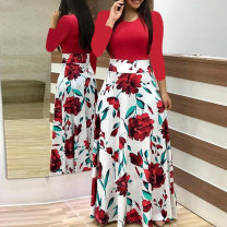 Dress Spring of 2019 Red, green, pink, dot, leaf green, color bar, black and white S,M,L,XL,2XL,3XL,4XL,5XL