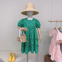 Dress green female Other / other 100cm / tag 5110cm / tag 7120cm / tag 9130cm / tag 11140cm / tag 13 Other 100% summer Korean version Short sleeve Broken flowers cotton A-line skirt y66106 Seven, eight, three, six, eleven, five, four, ten, nine Chinese Mainland