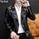 leather clothing VNYYT Fashion City Black white red 165/M 170/L 175/XL 180/XXL 185/3XL have cash less than that is registered in the accounts Imitation leather clothes Lapel Slim fit Diagonal zipper placket autumn leisure time youth PU Exquisite Korean style YYT-PIS2X2 Straight hem Side seam pocket