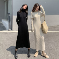Dress Winter 2020 S,M,L,XL Mid length dress singleton  Long sleeves commute High collar High waist Solid color Socket A-line skirt routine Others Type A Korean version knitting