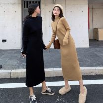 Dress Autumn 2020 [quality] khaki, [quality] black S,M,L,XL longuette singleton  Long sleeves commute Half high collar High waist Solid color Socket One pace skirt routine 18-24 years old Type H Korean version Button knitting
