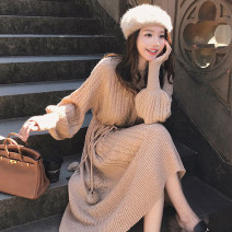 Dress Autumn 2020 [high quality] oat color, [high quality] coffee color, [high quality] off white S,M,L,XL Mid length dress singleton  Long sleeves commute Crew neck High waist Solid color Socket A-line skirt bishop sleeve Type A Korean version Frenulum knitting