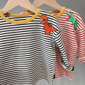 T-shirt Red stripe, black and white stripe, black and white stripe Other / other 90cm,100cm,110cm,120cm,130cm,140cm male spring and autumn Long sleeves Crew neck leisure time There are models in the real shooting nothing cotton stripe Sweat absorption