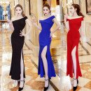 Dress Spring of 2018 Black, red, blue S,M,L longuette singleton  Short sleeve commute One word collar middle-waisted Solid color zipper other routine Oblique shoulder Type H Other / other brocade cotton