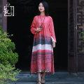 Dress Autumn of 2018 gules M L longuette singleton  Long sleeves commute stand collar Elastic waist Decor Single breasted A-line skirt routine Others 40-49 years old Type A Chaos in the south of the Yangtze River Retro pocket 51% (inclusive) - 70% (inclusive) cotton Pure e-commerce (online only)
