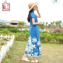 Dress Summer 2020 M L Mid length dress Short sleeve commute stand collar Loose waist Decor Socket A-line skirt Others 30-34 years old Type A Chaos in the south of the Yangtze River Retro Button printing More than 95% hemp Ramie 95% others 5% Pure e-commerce (online only)