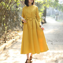 Dress Spring of 2019 Pink purple yellow M L XL longuette singleton  Long sleeves commute High waist Solid color Single breasted A-line skirt routine Others 35-39 years old Type A Chaos in the south of the Yangtze River Retro pocket More than 95% cotton Cotton 95% other 5%