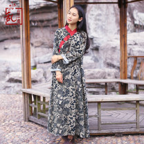 Dress Spring 2021 M L Mid length dress singleton  Long sleeves commute V-neck Loose waist Decor Socket A-line skirt routine Others 30-34 years old Type A Chaos in the south of the Yangtze River Retro Button print on pocket 51% (inclusive) - 70% (inclusive) other cotton Cotton 70% flax 30%