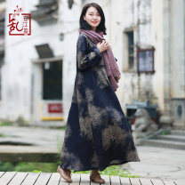 Dress Autumn of 2018 Green blue Average size Mid length dress singleton  Long sleeves commute Crew neck Elastic waist Decor Socket A-line skirt routine Others 40-49 years old Type A Chaos in the south of the Yangtze River Retro pocket 71% (inclusive) - 80% (inclusive) brocade hemp