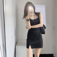Dress Summer 2021 black S M L Miniskirt Sleeveless commute square neck middle-waisted camisole 18-24 years old Yacaiyi Korean version More than 95% other other Other 100%