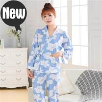 Pajamas / housewear set female Other / other M,L,XL,XXL 4002 pink kimono suit, 4002 blue kimono suit cotton Long sleeves Sweet Leisure home autumn routine V-neck Broken flowers trousers double-breasted youth 2 pieces rubber string printing