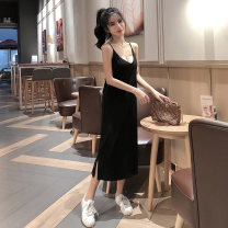 Dress Summer of 2019 Black grey Average size longuette singleton  Sleeveless commute V-neck Loose waist Solid color Socket A-line skirt routine camisole 18-24 years old Type A Shiken Korean version backless More than 95% other Other 100%