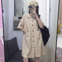 Women's large Summer 2020 Apricot Navy S M L XL Dress singleton  commute easy thin Socket Short sleeve Solid color Polo collar Medium length routine Maymonau / maimengou 18-24 years old Button Medium length Other 100% Exclusive payment of tmall other