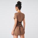 Dress Summer 2020 Khaki, black S, M Short skirt Short sleeve Crew neck routine Type X cotton