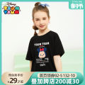 T-shirt White black pink light orange medium purple Beitian 100cm 110cm 120cm 130cm 140cm 150cm 160cm female summer Short sleeve Crew neck leisure time There are models in the real shooting cotton Cartoon animation Cotton 95% polyurethane elastic fiber (spandex) 5% 210325w Mickey's head and letters