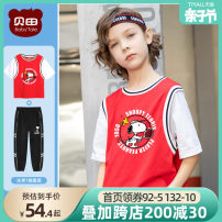 suit Beitian 100cm 110cm 120cm 130cm 140cm 150cm 160cm male summer leisure time Short sleeve + pants 2 pieces routine There are models in the real shooting nothing Cartoon animation Cotton blended fabric children Expression of love Man anti mosquito pants suit Summer 2021