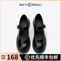 Low top shoes 35 36 37 38 39 Bai Yisha Li black Round head Superfine fiber Muffin bottom Middle heel (3-5cm) Shallow mouth Superfine fiber Spring 2021 Flat buckle solar system Adhesive shoes Youth (18-40 years old) Solid color rubber Mary Jane shoes Shallow waterproof platform Microfiber skin 3308-6