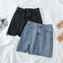 skirt Summer 2021 S,M,L,XL,2XL,3XL,4XL,5XL Blue, black and gray Short skirt fresh High waist A-line skirt Type A 18-24 years old Other / other