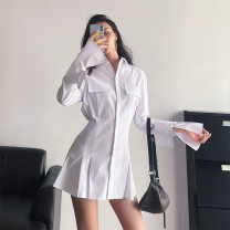 Dress Autumn 2020 Black, white S,XL,L,M,XXL Short skirt singleton  Long sleeves commute Polo collar High waist Solid color Single breasted Pleated skirt pagoda sleeve Others 18-24 years old Type A Printing, splicing 71% (inclusive) - 80% (inclusive) other