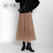 skirt Winter 2020 F-code Black Khaki Mid length dress commute High waist Dot 25-29 years old yx6907 More than 95% Yixi polyester fiber Korean version Polyester 100%