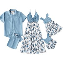 Parent child fashion Blue, light blue A family of three Female, male Other / other summer Thin money Broken flowers suit Pure cotton (100% cotton content) L,M,S,XL Cotton 100% Class A M,L,XL,XXL