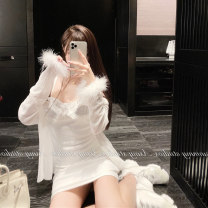 Women's large Summer 2020 S M L XL 2XL 3XL Dress Two piece set commute Self cultivation moderate Socket Long sleeves Solid color Korean version One word collar routine Polyester cotton fold routine 18-24 years old Button 51% (inclusive) - 70% (inclusive) Short skirt Polyester 55% cotton 45% other