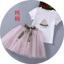 suit Meng Yishan Green pink female summer Korean version Short sleeve + skirt 2 pieces routine There are models in the real shooting Socket nothing