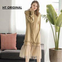 Dress Spring of 2019 Khaki, black S,M,L Long sleeves 81% (inclusive) - 90% (inclusive)