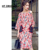 Dress Summer 2017 Decor [high quality version in stock] S,M,L,XL Mid length dress singleton  Short sleeve Decor other Type H Other / other Sticking cloth 81% (inclusive) - 90% (inclusive) Chiffon
