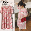 Dress Miduli Coral Orange Red White Black and white Average size Korean version Short sleeve routine summer stripe 9448   -----