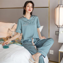 Pajamas / housewear set female Other / other XL,L,M Intellectual grey, Shining Stone Black, fashionable green, starry blue Iced silk Short sleeve Simplicity pajamas summer Thin money V-neck Solid color trousers Socket youth 2 pieces rubber string More than 95% silk Embroidery 9303 short sleeve female